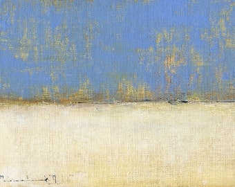 Landscape Painting Abstract by John Shanabrook - 5 x 7 - Prairie Snow