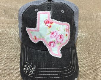 State of Texas floral Baseball Bling Ladies Womens Trucker Hat
