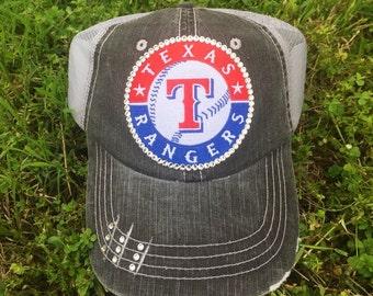 Texas Rangers swarovski Baseball Bling Ladies Womens Trucker Hat