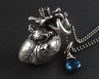 December Birthstone - Anatomical Heart Necklace with Sterling Silver Wire-Wrapped Blue Topaz
