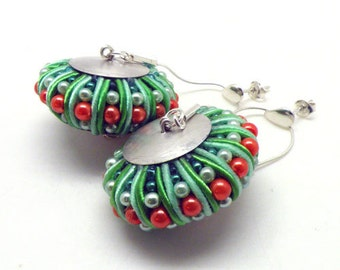 3D Soutache earrings (green&orange)