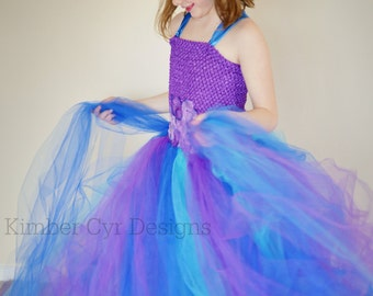 Purple and Blues Wedding - flower girl- party dress-CUSTOMIZE