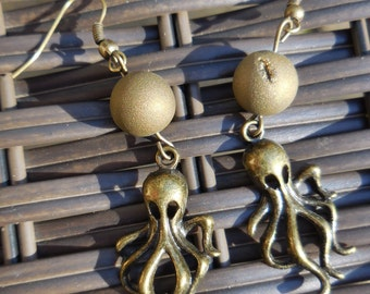 Bronze Octopus or Cthulhu Charm and Round geode Bead Hook Earrings