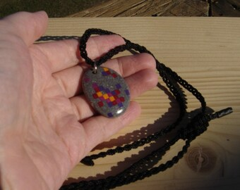 Original stone painting pendant real pebble necklace 115 dark gray zombie meteor in matrix  pixel gems retro