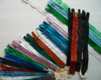 Sewing Supply, Zippers, FREE SHIPPING, Sewing Supplies Destash, Destash Zippers, Two dozen zippers, Rainbow assortment