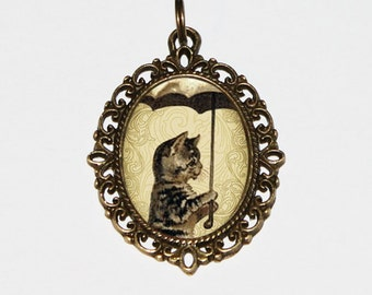 Cat Necklace, Umbrella Jewelry, Cats, Animals, Bronze Oval Pendant