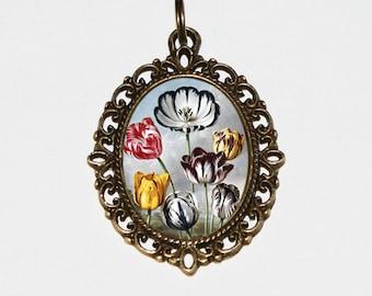 Tulip Necklace, Botanical, Flower Jewelry, Spring Tulips, Springtime, Bronze Oval Pendant