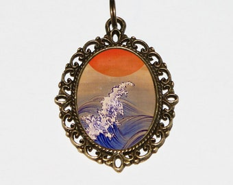 Sun And Waves Necklace, Ocean Jewelry, Japanese, Wave Necklace, Oval Pendant