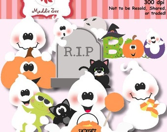 Halloween Ghost Boo Cuties 1 Clipart (Digital Download)