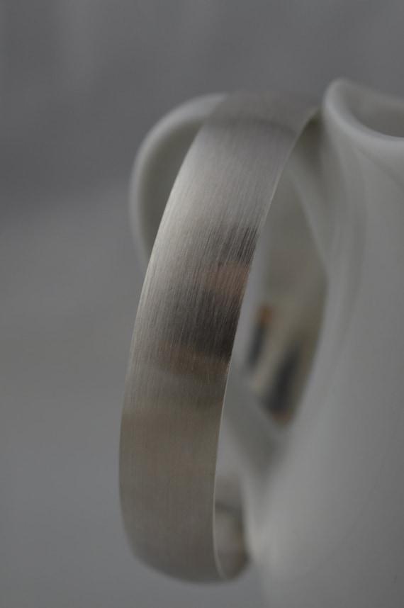 Brushed Sterling Silver Wide Bangle Bracelet