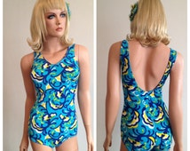 1960's Rare Vintage German Modestri Label 1960's Cone Bra Tank Maillot One Piece Swimsuit Long Torso M-L