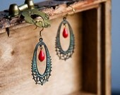 Patina Peacock Earrings Red Drop Verdigris Feather Earrings Christmas Jewelry Green Earrings - E106