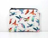 Zipper Coin Purse - Hummingbirds on Cream - Little Zipper Pouch Little Pouch Small Gadget Case - Small Wallet - Humming Birds