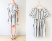 vintage black and white striped dress small