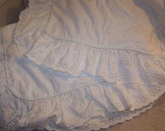 Sears White Bed Skirt Dust Ruffle Matching Standard Size