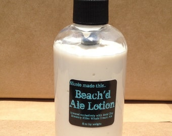 Beach'd Ale Lotion Brewed Fresh to Order. Vegan, Free of Paraben & Propylene Glycol and Perfect for the Beer Lover in your Life!