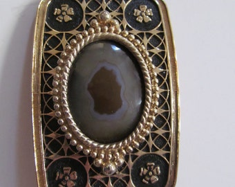 Belt Buckle with Natural Stone Center 1970's