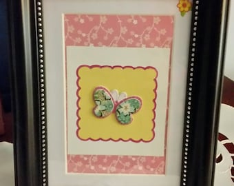 Handmade Butterfly Photo Frame, tabletop home decor, gift idea for her, pink and yellow butterfly frame,