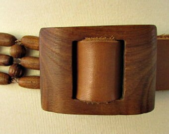 vintage 70s carved wood beaded leather belt  hippie boho