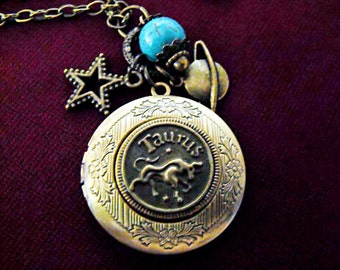 Bronze Locket Necklace,  Zodiac Symbol Taurus,  With Turquoise Bead And Charms  Womens Gift  Handmade