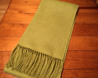 """Apple Green Fringed Burlap Table Runner Lengths from 48"""" up to 148"""" Chartreuse Burlap Table Runner Fall Table Settings Modern Chic Decor"""