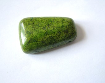 "Olive Moss Green Turquoise, Dyed Howlite Gemstone, Large Smooth Pendant Bead, Drilled, approx. 1-3/8"" L, 7/8"" W, (34x22mm)"