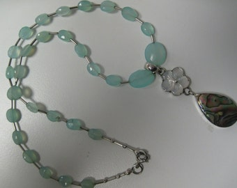 Aqua chalcedony, abalone, mother of pearl, and sterling silver necklace