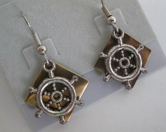 Mixed metal ship's wheel earrings