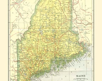 MAINE STATE MAP Instant Digital Download