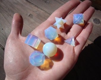 Magickal opalite sacred geometry set with lovely wood storage box GREAT CHRISTMAS GIFT
