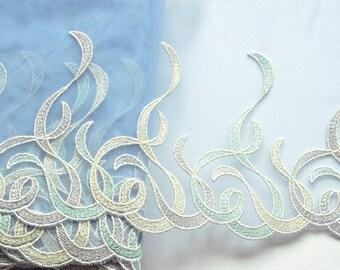 Blue Pastel Swirls Lace Trim, Embroidered Tulle Trim, Brides Maids Dress, Girls Dresses, Professional Dance Costumes, Dolls