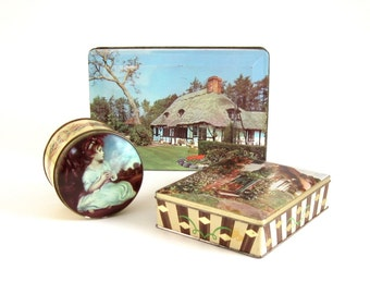 Old Candy Tins Vintage Toffee Tin Containers Made in England Round, Hinged Lid, Rectangular Age of Innocence Reynolds Bensons