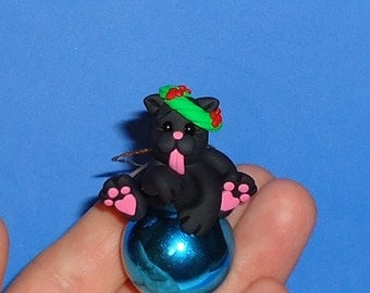 Polymer Clay Black Cat on Glass Ball Ornament