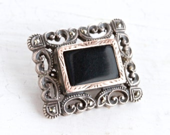 Art Deco Lapel Pin - Sterling silver Antique Brooch - Filigree Jet Black Glass Gold and Marcasite