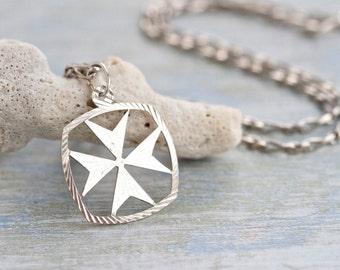 Maltese Cross Necklace - Diamond Cut Sterling Silver Pendant on Chain