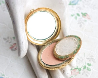 Small Golden Compact Mirror and Powder Case - Vintage Make Up