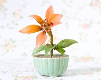 Orange Glass Flowers in Jade Green Pot - Miniature Kitsch Ornament