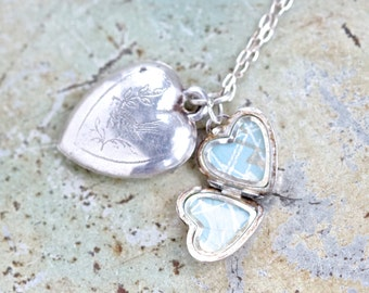 Two Hearts Necklace - Sterling Silver Love and Locket Pendants