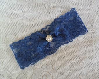 Lace Wedding Garter, SOMETHING BLUE Bridal Garter, Wedding Accessory, Navy Blue Garter, Vintage Style Lace Garter, Bridal Accessory,