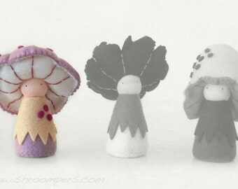 Eco Friendly Mushroom Felt Dolls / Custom Trio / Rosepe, plus you choose two more