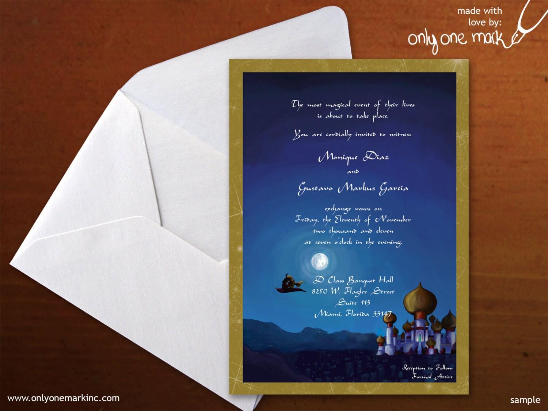 Wedding Invitations Disney: Disney's Aladdin Inspired Wedding Invitation By OnlyOneMarkINC