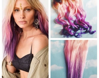Pink and Purple Hair Clip Extensions, Pink Ombre Hair, Purple Ombre Hair, Weave, Human Hair, Full Set, Bundle, Festival, Hippie Hair, Dread