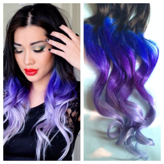Purple and Blue Hair Clip Extensions Blue Ombre Hair Purple