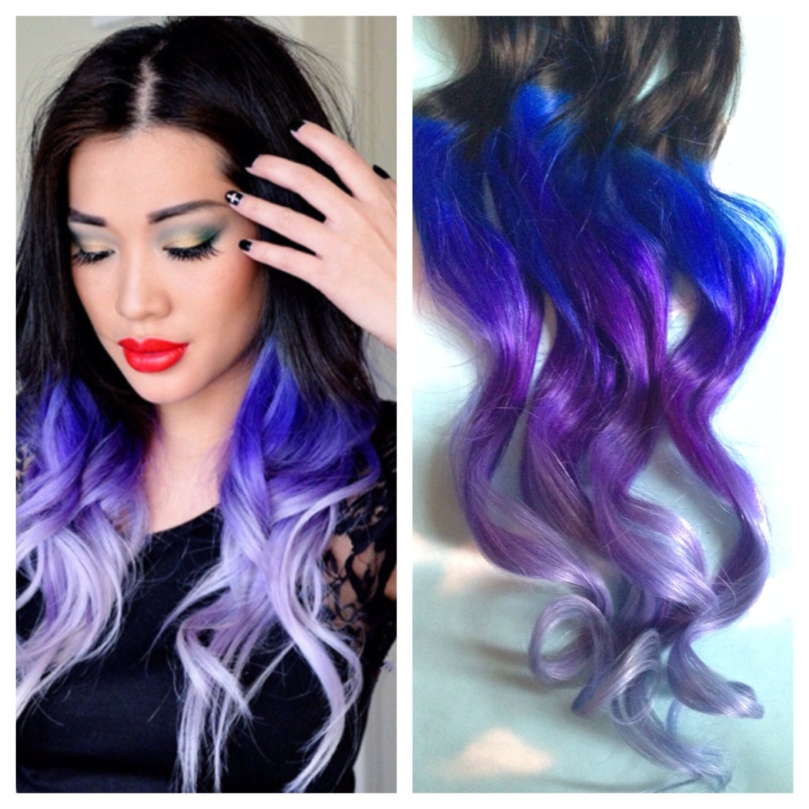 Purple and blue hair clip extensions blue ombre hair purple zoom pmusecretfo Image collections