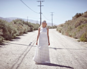 "Vintage Inspired, Racer-Back Wedding Dress, Crochet Lace, Tank Top, Ivory Bohemian Gown - ""Dylan"""