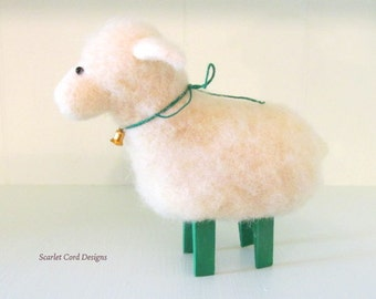 Felted Animal White and Green Sheep Wool Soft Sculpture Doll Spring Lamb