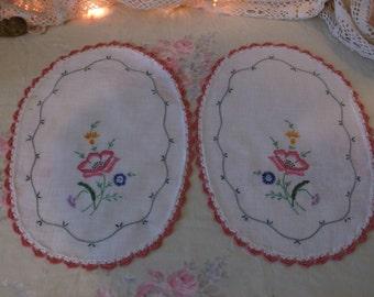 Estate Find Vintage Hand Embroidered Doiles 2 Piece Set Pink Shabby Cottage Rose
