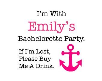 Bachelorette Tattoos - Bachelorette Party Temporary Tattoos - Nautical Bachelorette - If I'm Lost, Please Buy Me A Drink