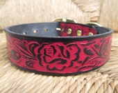 """Red and Black Leather Dog Collar. Hand Embossed 1 1/4"""" Western Rose Leather Collar."""