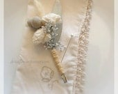 Silver Ice Collection - Boutonniere - Groom or Groomsmen Boutonnieres - Dried wedding flowers -  gray creamy white sola tallow berry